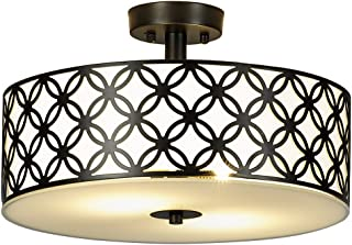 SOTTAE Luxurious Living Room Bedroom Ceiling lamp Black Bronze Glass Diffuser Chrome Finish Flush Mount Ceiling Light,Modern Ceiling Light Fixture 12