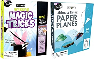 SpiceBox Kits for Kids Magic Tricks and Paper Planes Bundle - English Only