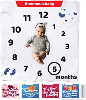 Organic Flannel Monthly Baby Milestone Blanket| Unisex Design| 12 Milestone Cards and Marker| 1-12 Months Newborn Baby Shower Set | Personalized Photography Blanket For Baby Boy Girl