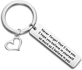 Gzrlyf Encouragement Gift Never Forget That I Love You Keychain Believe in Yourself Keychain Inspirational Gift for Son,Daughter