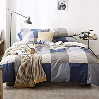 HIGHBUY Geometric Boys Twin Duvet Cover Plaid Cotton Bedding Sets Twin Reversible Grey Blue Grids Bedding Comforter Cover for Men Teens Twin Duvet Cover Grey Kids Adult 3 Pieces Bedding Sets