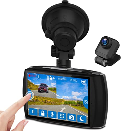 "Dual Dash Cam, 4.0"" Touch Screen Z-EDGE Ultra HD 1440P Front, and 1080P Rear, 155 Degree Wide Angle, Dual Lens Car Ca..."