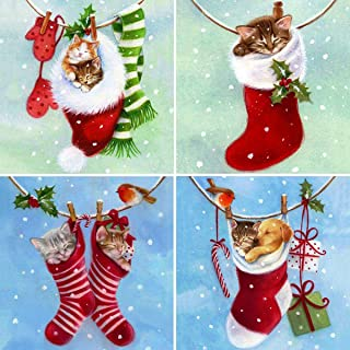 4 Pack 5D Diamond Painting Christmas Stockings Cats and Dogs for Adults by Number Kits, Puppies and Kittens Santa Gift Full Drill Paint with Diamonds Craft Home Decor 12x12 inch (30x30 cm)