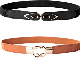 JASGOOD 2 Pack Women Retro Elastic Stretchy Metal Buckle Skinny Waist Belt 1 inch Wide