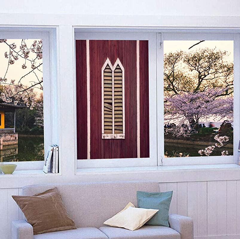 YOLIYANA Privacy Window Film Decorative,Shutters,for Glass Non-Adhesive,Window Frame with Shutters on a Wooden Wall,24''x36'' iatrjpoi994864
