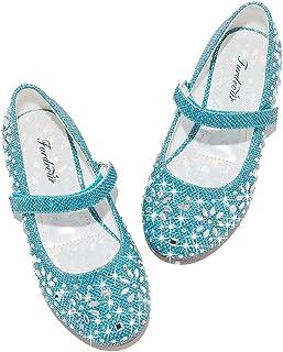 Furdeour Girls Glitter Flats Adorable Dress Shoes Princess Wedding Party Flower Rhinestone Shoes for Kids Toddler