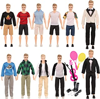 SOTOGO 24 Pieces Doll Clothes Set Include 10 Set Doll Casual/Career Wear Clothes Jacket Pants Outfits and 4 Pairs Shoes, Tennis Racket and Violin for Ken Dolls