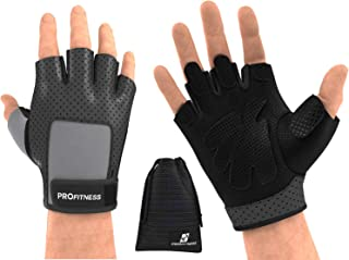 ProFitness Weight Lifting Gloves (Fingerless) Power Lifting, Cross Training, Gym Workout Wear | Padded, Breathable Comfort...