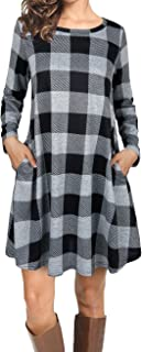 Women Casual Long Sleeve Loose Checkered Plaid Swing Tunic T-Shirt Dress with Pocket