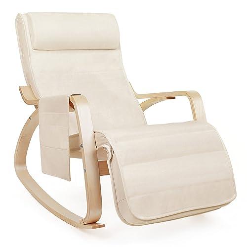 SONGMICS Fauteuil à Bascule Rocking Chair avec Repose-Pieds réglable à 5 Niveaux Design Charge Maximum 150 kg Lin Beige LYY12M