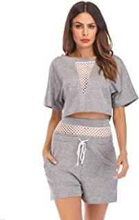478faccc8f5 Sedrinuo Women Sexy Hollow Out High Waist Loose Two Piece Jumpsuit Crop Top  and Short Pants