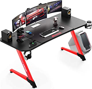 Pukami 55 inches Ergonomic Gaming Desk Computer Desk Gamer Desk Pro Table PC Desk with Cup Holder Headphone Hook and XL Mo...