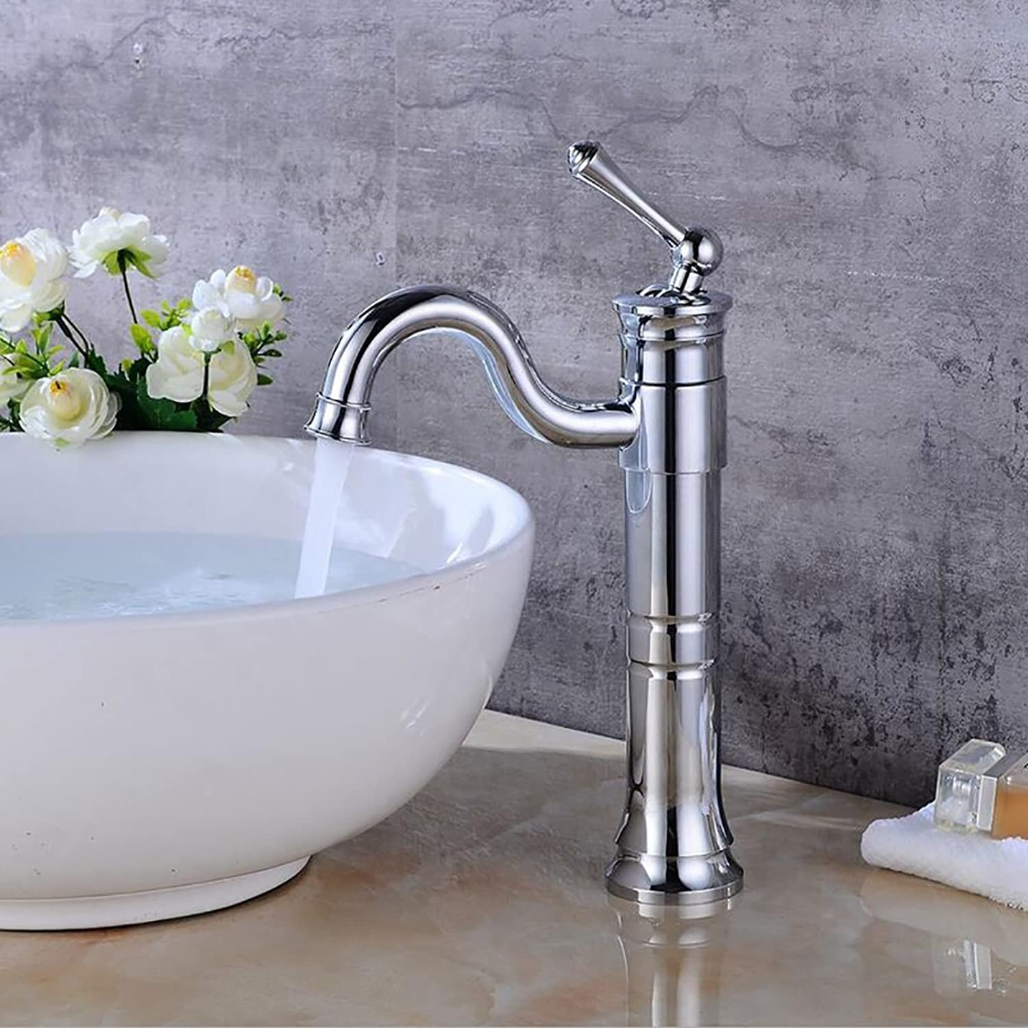 Bathroom accessories, easy to use and user-friendl Hot And Cold Taps,Basin Counter Basin redation Faucet,Bathroom Waterfall Tap,Retro Brass Single Spout Sink Mixer XIAHE