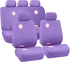 FH Group FB053115 Floral Embroidery Design Full Set Seat Covers Purple Color (Airbag Compatible & Split) w. E-Z Travel Car Seat Storage Bag - Fit Most Car, Truck, SUV, or Van