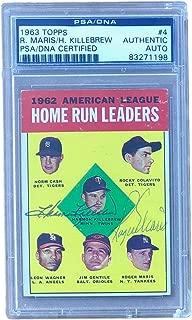 Roger Maris Harmon Killebrew Yankees Twins Signed 1963 Topps Card #4 PSA