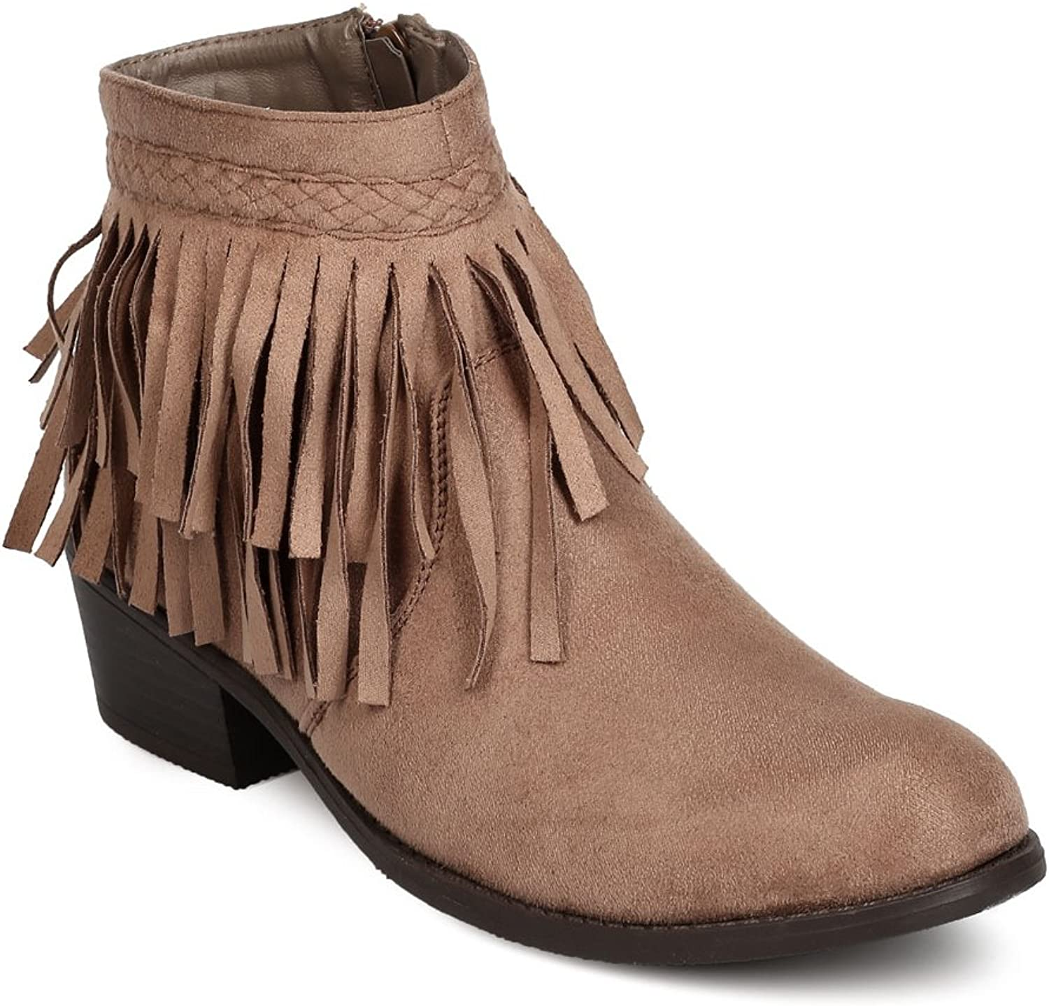 ShoBeautiful Women's Fringe Chunky Booties Western Cowgirl Boho Side Zipper Braided Low Block Heel Casual Boots