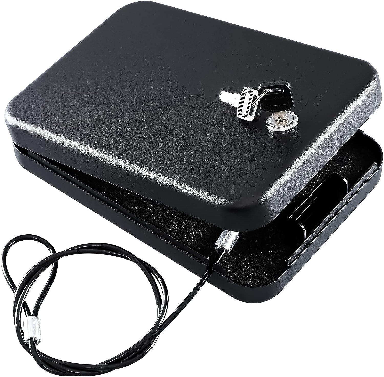 Dalmbox Gun Safe for Pistols Small Handgun Lock Box with Key Lock Portable Travel Pistol Safe for Car, Home, Travel (1.8x 6.4x 9.4 inches)