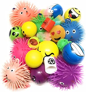 Bottles N Bags 12 Pack +1 Bonus ! Stress Relief Balls and Puffer Squeeze Toys (Value Assortment) + Bonus Coil Spring Toy