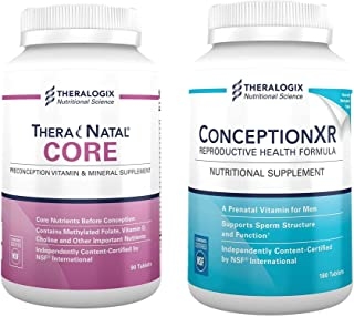 TheraNatal Core + ConceptionXR Reproductive Health Bundle by Theralogix | TheraNatal Core Preconception Prenatal Vitamin Supplement (90 Day Supply) | ConceptionXR Reproductive Health Male Fertility