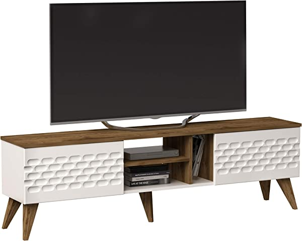 Decorotika Eggea Modern TV Stand Media Console Fits Up To 70 TVs With Closed Cabinets And Open Shelves