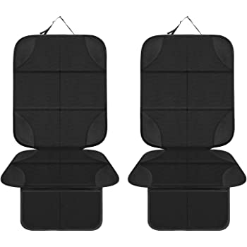Prorighty Best Auto Seat Protector Ugraded The Largest and Thickest Pad for Extra Protection Coverage for car Van or SUV Black with Grey Trim for Kids Adults Pets 2-Pack