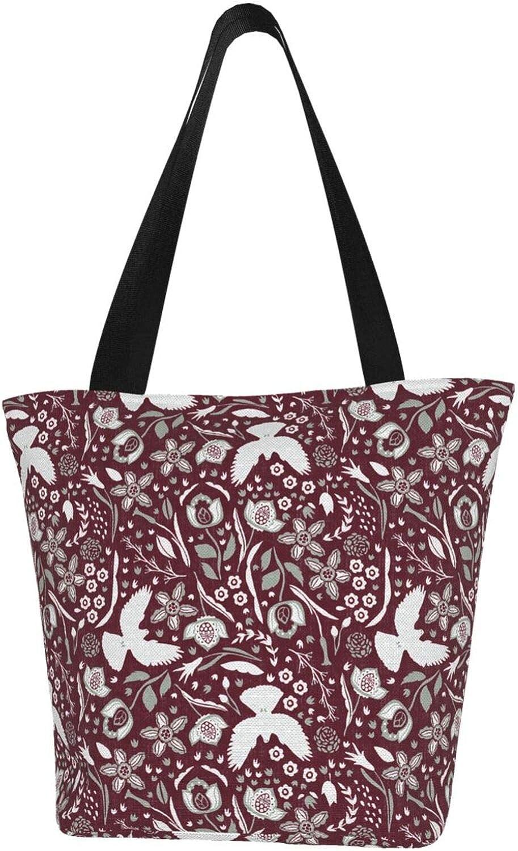 Red Peace Dove Flower Plant Themed Printed Women Canvas Handbag Zipper Shoulder Bag Work Booksbag Tote Purse Leisure Hobo Bag For Shopping