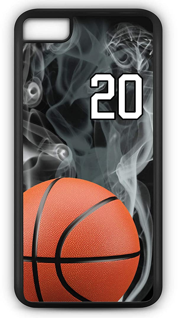 iPhone 8 Case Basketball BK015Z Choice of Any Personalized Name or Number Tough Phone Case by TYD Designs in Black Plastic and Black Rubber with Team Jersey Number 20
