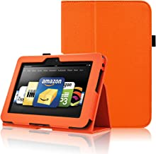 ACdream Kindle Fire HD 7 2012 Case, Folio Leather Cover Case for Kindle Fire HD 7 2012 Version with Auto Wake Sleep Feather, (Orange)