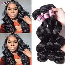 UNice hair Icenu Series 8a Brazilian Loose Wave Virgin Hair 3 Bundles 100% Unprocessed Human Hair Weave Extensions (16 18 20, Natural Color)
