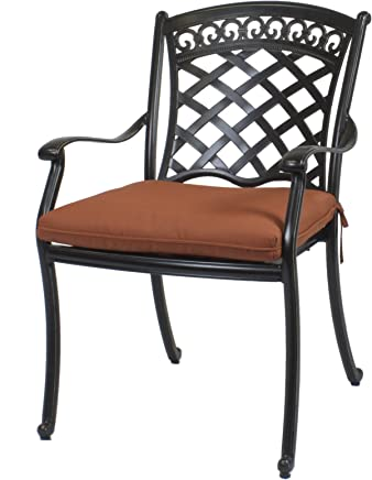 6 St. Tropez Cast Aluminum Dining Chairs With Cushions