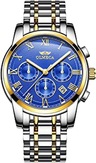 OLMECA Men's Watch Fashion Luxury Wrist Watches Analog Quartz Waterproof Chronograph Watch for Men Stainless Steel Strap C...