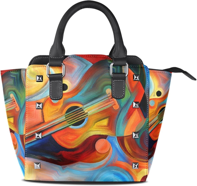 My Little Nest Women's Top Handle Satchel Handbag Abstract Painting Music Rhythm Ladies PU Leather Shoulder Bag Crossbody Bag