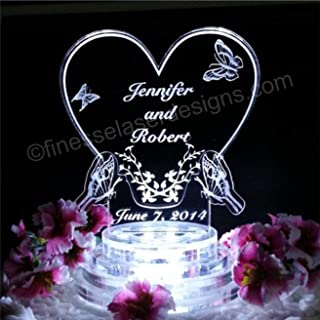 Wedding Personalized Custom Butterfly Heart LED Lit Wedding Cake Topper Acrylic Cake Top Personalized Engraved, LED and base included
