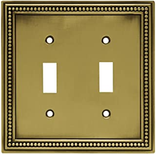 Beaded Decorative Double Switch Plate, Tumbled Antique Brass