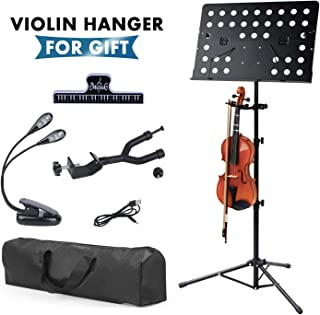 Klvied Metal Violin Music Stand with Violin Hanger,...