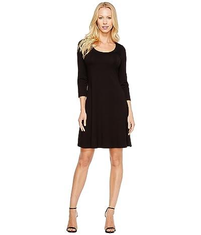 Karen Kane 3/4 Sleeve A-Line Dress (Black) Women