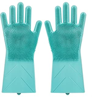 2 Pcs Magic Silicone Gloves with Wash Scrubber, 2 in 1 Heat Resistant Silicone Brush Scrub Gloves for Cleaning, Household, Dish Washing, Washing The Car, Pet Hair Care (Green)