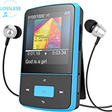 AGPTEK G05- Mini Clip Reproductor de MP3 8 GB TFT Pantalla 1.5 Pulgadas con Radio FM, Azul