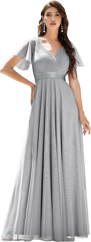 Ever-Pretty Women's Double V-Neck Empire Waist Front Wrap Bridesmaid Dress 7962