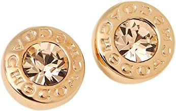 OPEN CIRCLE STONE STUD EARRING -ROSE GOLD-