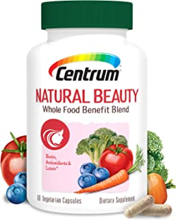 Centrum Natural Beauty Biotin and Vitamin E, Hair Skin and Nails Vitamins, with Whole Food Blend, Vegan, Day Supply, 60 Count