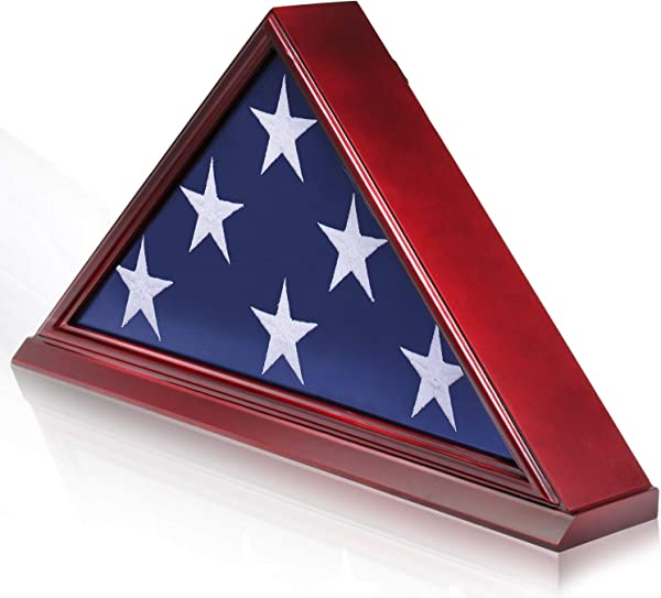 Anley Memorial Flag Display Case With Base Solid Wood And Not Veneer Removable Back Plate Flag Shadow Box For Funeral Or Burial