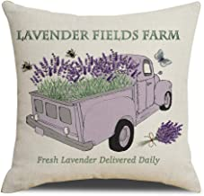Auomily Truck with Fresh Lavender Pillow Covers Lavender Fields Farm Farmhouse Decorative Cotton Linen Throw Pillow Case Cushion Cover for Sofa Couch 18 x 18 Inch (Lavender Farm)