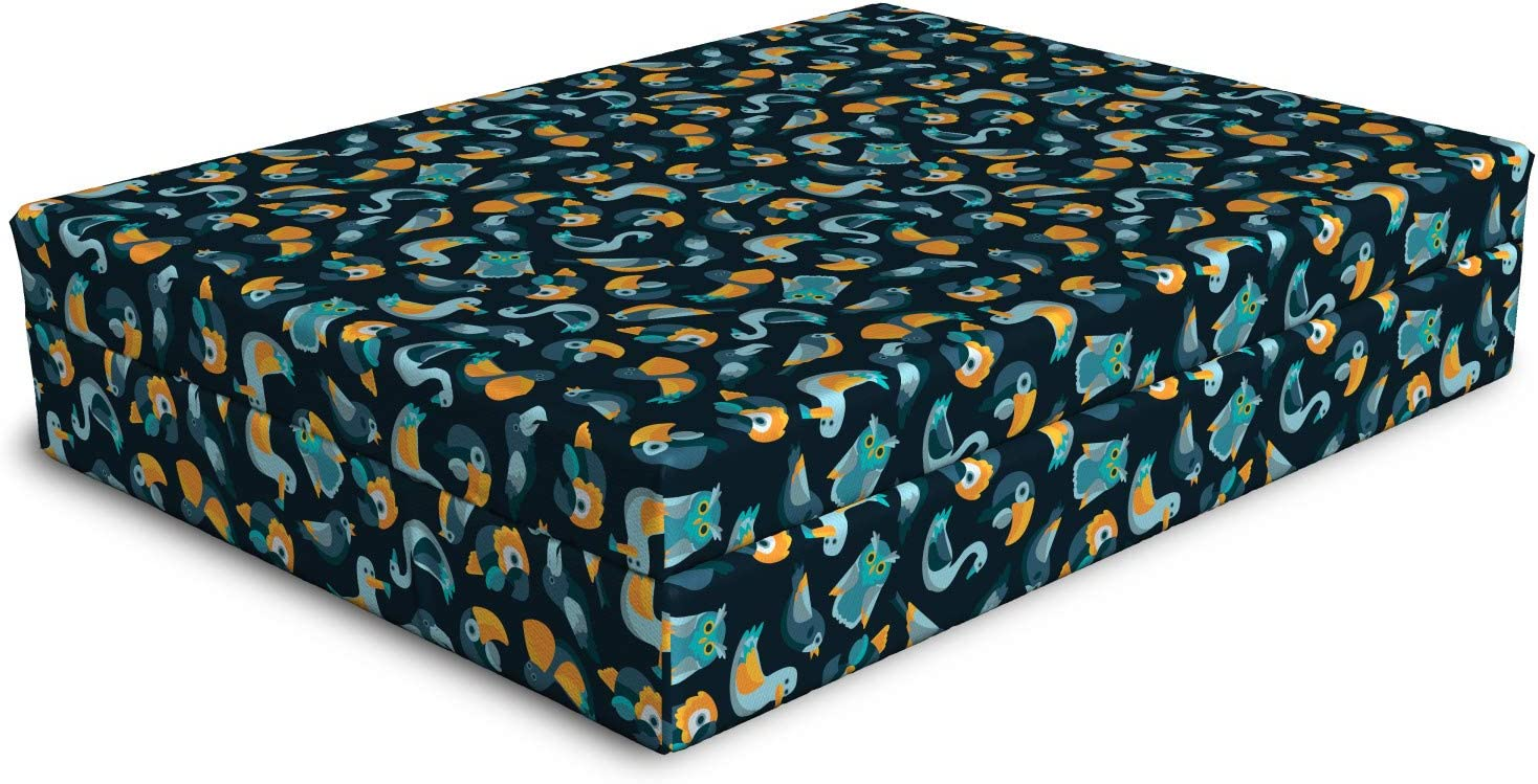 Lunarable Pelican Dog Bed Cartoon Style on Ba Gorgeous Birds Special price for a limited time Exotic Dark