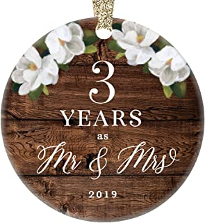 3rd Third Wedding Anniversary 2019 Christmas Ornament Ceramic Collectible Present Three Years Wed Husband Wife Married Couple Country Rustic Keepsake 3