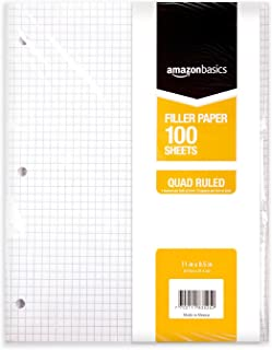 AmazonBasics Graph Ruled Loose Leaf Filler Paper, 100 Sheet, 11 x 8.5 Inch, 6-Pack
