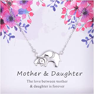 Sterling Silver Mother Daughter Elephant Necklace Jewelry Gift for Women Girls