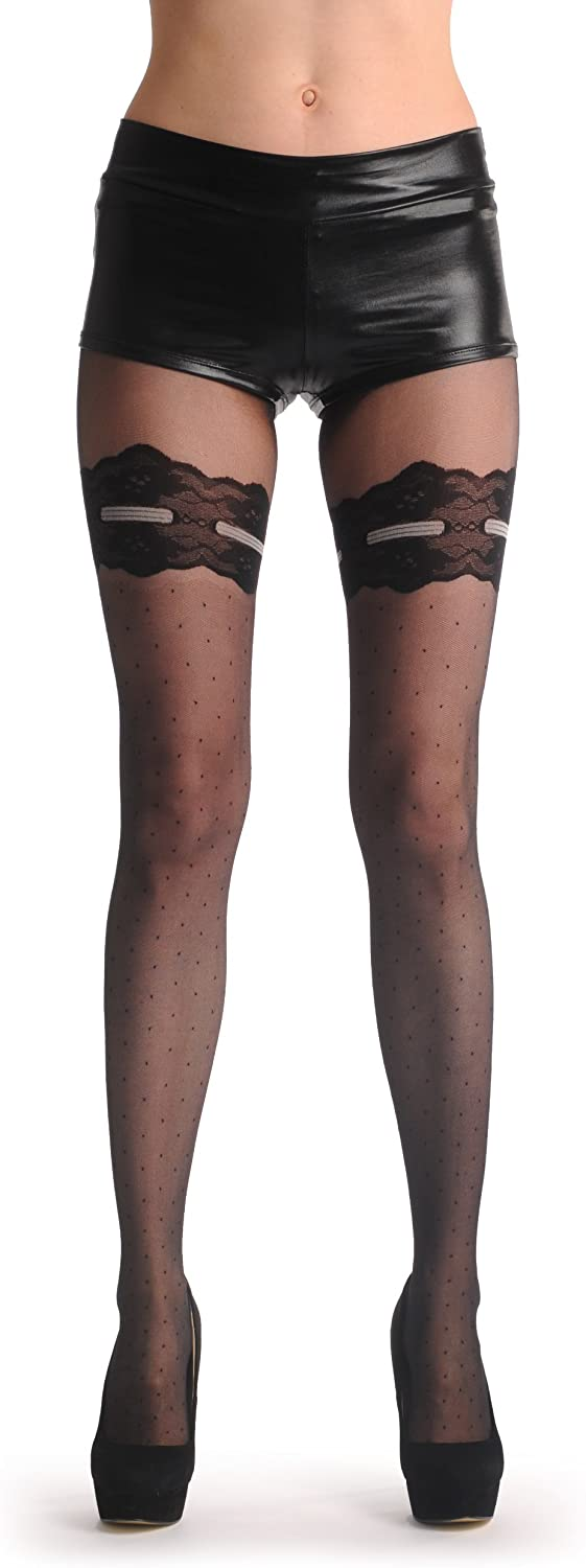 Black Dotted With Lace Garter And Top & Grey Ribbon With Bow 20 Den - Tights