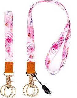 Lanyard with ID Holder Key Chain Wrist Strap Badge Mobile Phones Wallets Car Key Lanyards Durable Premium Quality Wristlet Strap Neck Cool Lanyard (2 Pack) (Rose)