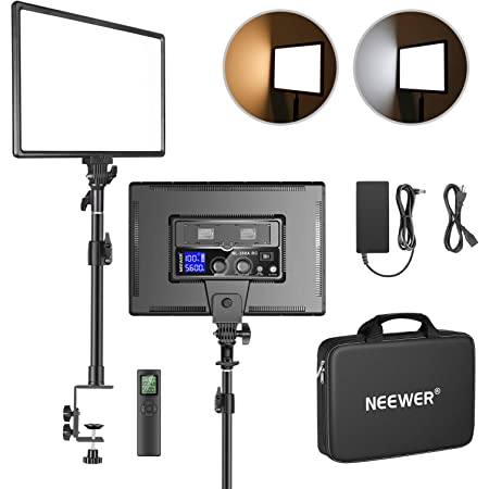 """Neewer Desk Mount LED Video Light with C-clamp Stand and 2.4G Remote Kit: Dimmable Bi-Color 18"""" LED Panel 3200K-5600K 45W 4800Lux CRI 97+ Light for Photography YouTube Game Video Shooting Live Stream"""
